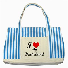 I Love My Beagle Striped Blue Tote Bag by free