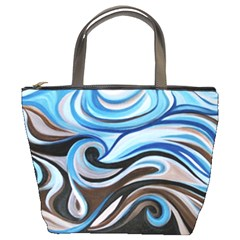 Blue&brown Swirls Bucket Bag By Bags n Brellas   Bucket Bag   3b00nxq2jb7e   Www Artscow Com Front