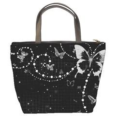 Black And White Butterflies Bucket Bag By Bags n Brellas   Bucket Bag   Izrohwqsulm5   Www Artscow Com Back