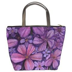 Purple Flowers Bucket Bag By Bags n Brellas   Bucket Bag   B8e8fepvsl3c   Www Artscow Com Back