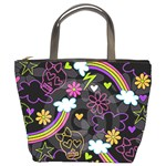 rainbow skulls bucket bag