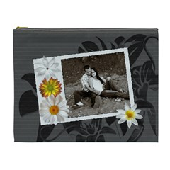 Charcoal Floral Xl Cosmetic Bag By Lil    Cosmetic Bag (xl)   Fmo7oje2n2h6   Www Artscow Com Front