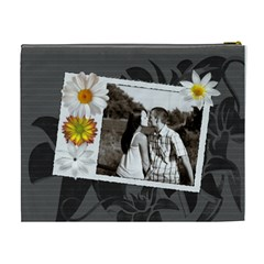 Charcoal Floral Xl Cosmetic Bag By Lil    Cosmetic Bag (xl)   Fmo7oje2n2h6   Www Artscow Com Back