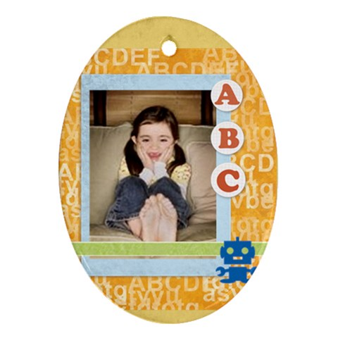 Abc Kids By Wood Johnson   Ornament (oval)   Wkwe2slu2ovo   Www Artscow Com Front
