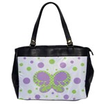 Butterfly Dots Purple/Green Oversized Office Hangbag - Oversize Office Handbag