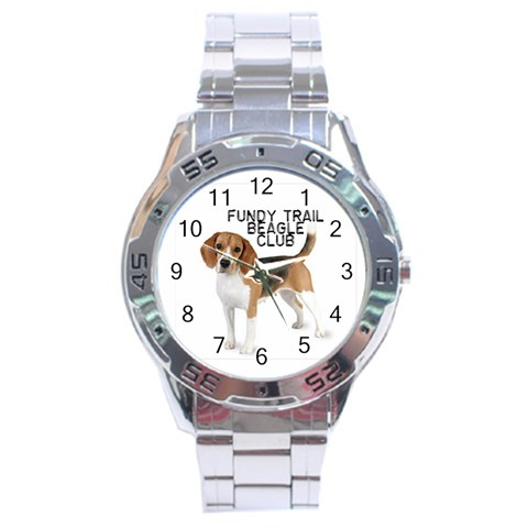 Beagle Watch For George By Betty Ann Demeter   Stainless Steel Analogue Watch   4emxaxz8ip19   Www Artscow Com Front