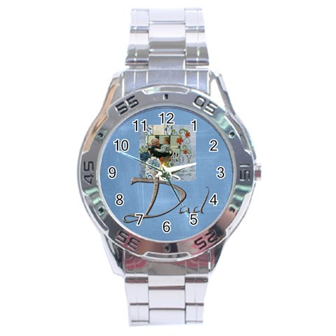 Dad Stainless Steel Watch By Catvinnat   Stainless Steel Analogue Watch   Xbepiyca5vb1   Www Artscow Com Front