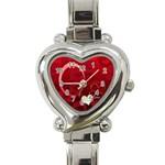 I Heart You Red Custom Heart Italian Charm Watch