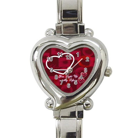 You Light Up My Life Pink Custom Heart Italian Charm Watch By Ellan   Heart Italian Charm Watch   C463mexjb1ji   Www Artscow Com Front