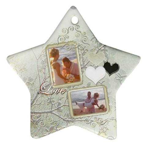 Love Wedding White Gold Star Ornament By Ellan   Ornament (star)   33vty3ejfg7t   Www Artscow Com Front