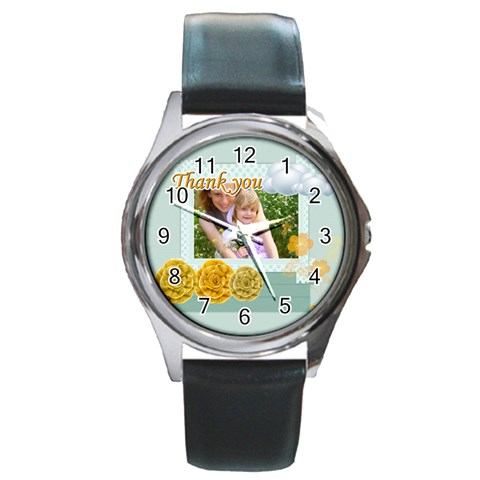 Thank You By Joely   Round Metal Watch   6ig2loli2gba   Www Artscow Com Front