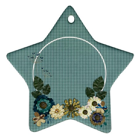 Floral, Blue  Star Ornament By Mikki   Ornament (star)   Btimsoezw9ow   Www Artscow Com Front