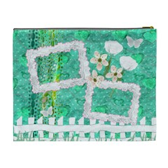 Spring Flower Floral Aqua Xl Cosmetic Bag By Ellan   Cosmetic Bag (xl)   Yhtq1v0eyxd0   Www Artscow Com Back