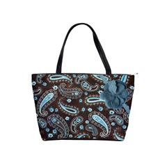 Brown Blue Paisley Dot Warm Fuzzy Tote Bag By Redhead Scraps   Classic Shoulder Handbag   Lidyptiyyq6x   Www Artscow Com Front