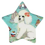 Whte Poodle Cakes Cupcake  Star Ornament (Two Sides)