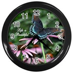 Life is Beautiful Butterfly Clock - Wall Clock (Black)