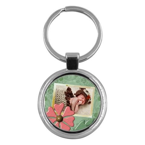 Pink Flower Round Key Chain By Lil    Key Chain (round)   Plw4x7ptb5tn   Www Artscow Com Front
