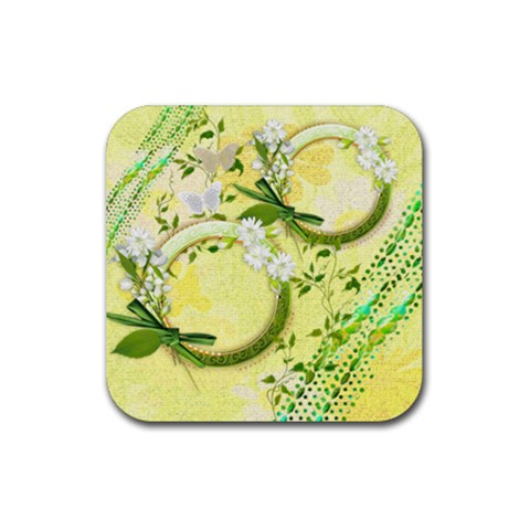 Spring Flower Floral Yellow Square Rubber Coaster By Ellan   Rubber Coaster (square)   Wq35jiy14nnd   Www Artscow Com Front