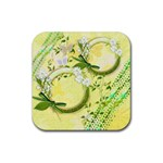 Spring Flower floral yellow square rubber coaster - Rubber Coaster (Square)