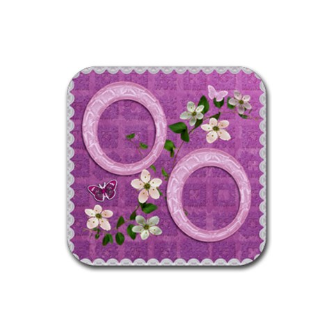 Spring Flower Floral Purple Square Rubber Coaster By Ellan   Rubber Coaster (square)   Xyxfwpjt992c   Www Artscow Com Front