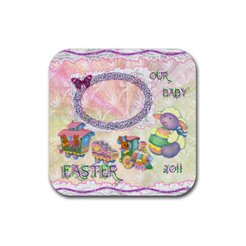 Spring Flower Floral Easter Baby Lamb Train Square Rubber Coaster By Ellan   Rubber Coaster (square)   14xz7vl1xj1r   Www Artscow Com Front