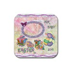Spring Flower floral easter baby lamb train square rubber coaster - Rubber Coaster (Square)