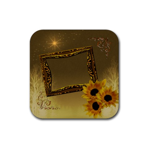 Gold Sunflower Square Rubber Coaster By Ellan   Rubber Coaster (square)   Lzfotx2dmzjp   Www Artscow Com Front