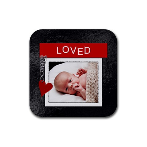 Loved Square Coaster By Lil    Rubber Coaster (square)   Zhbzyoipyl61   Www Artscow Com Front