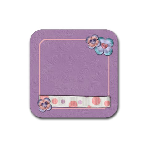 Flower Coaster Purple By Shelly   Rubber Coaster (square)   Jxt6bpuzgpzb   Www Artscow Com Front
