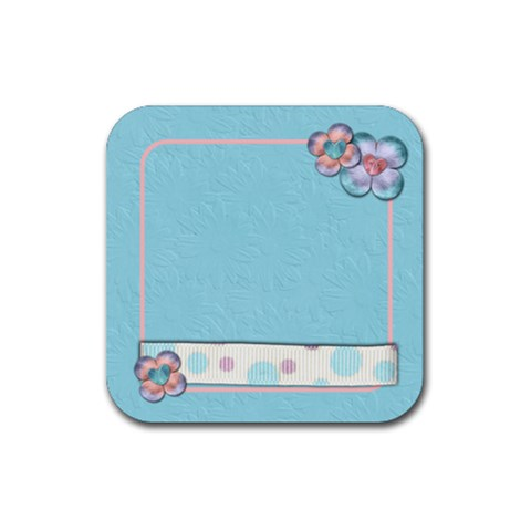 Flower Coaster Blue By Shelly   Rubber Coaster (square)   Vy2ez9ojeqh6   Www Artscow Com Front
