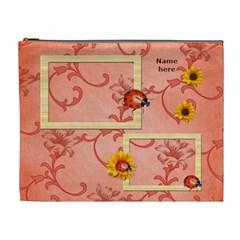 Sunflower Ladybug Cosmetic Bag (xl) By Elena Petrova   Cosmetic Bag (xl)   M3277qtdwsr0   Www Artscow Com Front