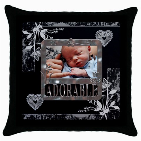 Adorable Throw Pillow Case By Lil    Throw Pillow Case (black)   Tlugxjch7lp2   Www Artscow Com Front