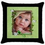 baby pillow - Throw Pillow Case (Black)
