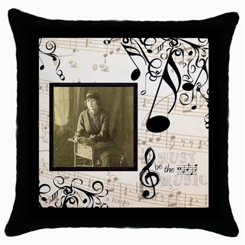 Must Be The Music Throw Pillow By Catvinnat   Throw Pillow Case (black)   Mn44r5ruumys   Www Artscow Com Front