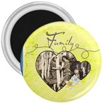 Hearts & Family 3 inch magnet - 3  Magnet