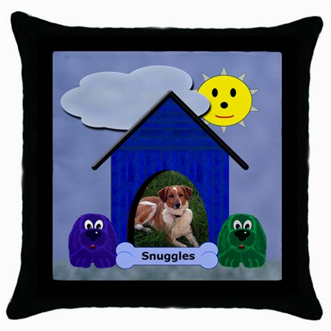 Doggie Throw Pillow By Chere s Creations   Throw Pillow Case (black)   T3koxm2a5fkh   Www Artscow Com Front