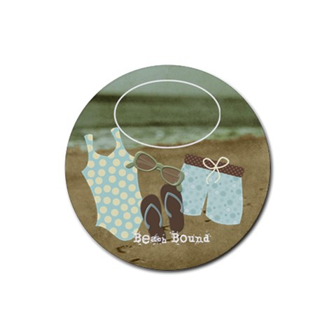 At The Beach: Beach Bound By Bitsoscrap   Rubber Round Coaster (4 Pack)   A5koeg743yty   Www Artscow Com Front