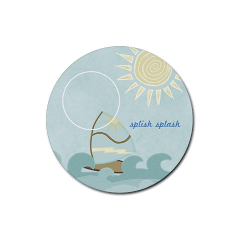 At The Beach: Splish Splash By Bitsoscrap   Rubber Round Coaster (4 Pack)   Qhilv7oh25mw   Www Artscow Com Front