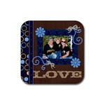 Family Love - Rubber Square Coaster (4 pack)