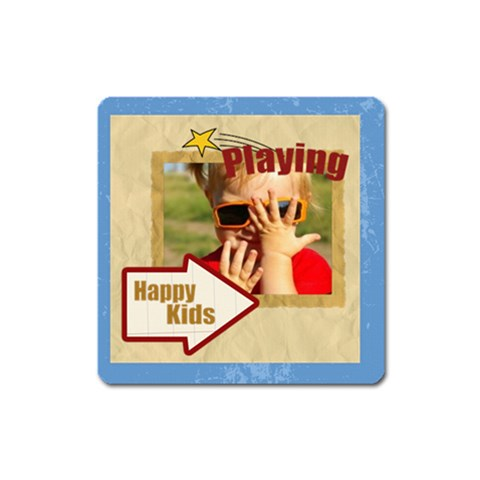 Happy Kids By Joely   Magnet (square)   Wa8aq5mfqau5   Www Artscow Com Front