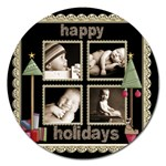 Happy Holidays Christmas Card 5 inch Magnet - Magnet 5  (Round)