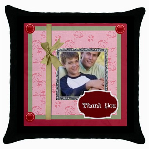 Thank You By Joely   Throw Pillow Case (black)   Kqzhsqd78nhx   Www Artscow Com Front