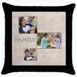 family - Throw Pillow Case (Black)