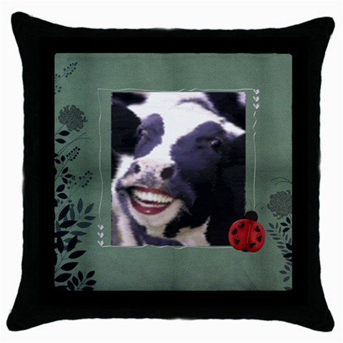 Cow Pillow By Kamryn   Throw Pillow Case (black)   Yllxxv5fjk7y   Www Artscow Com Front