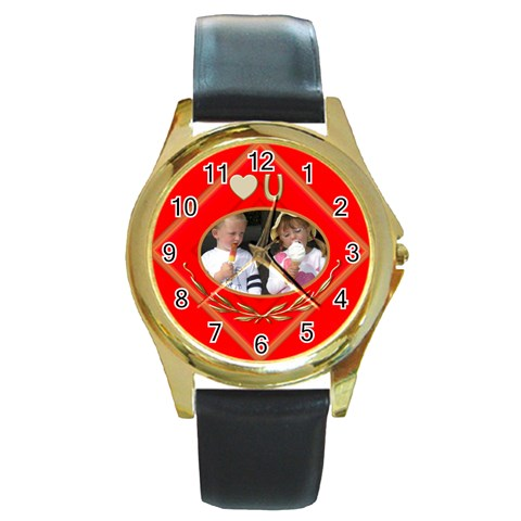 Love You Round Watch By Deborah   Round Gold Metal Watch   7pkxcypan8rn   Www Artscow Com Front
