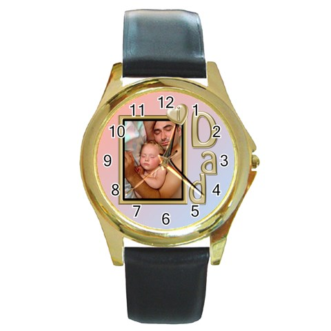 I Love Dad Gold Watch By Deborah   Round Gold Metal Watch   9gdg5djcjnkp   Www Artscow Com Front