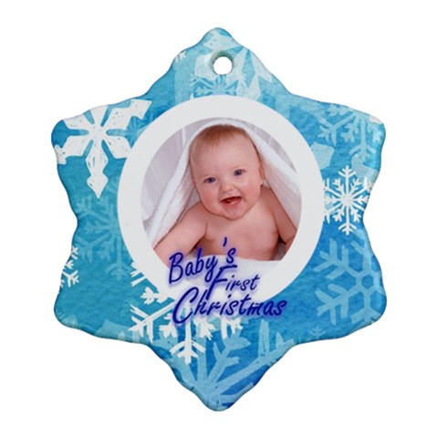 Snowflake Single Sided Baby s First Christmas By Catvinnat   Ornament (snowflake)   5724b9jmug8z   Www Artscow Com Front