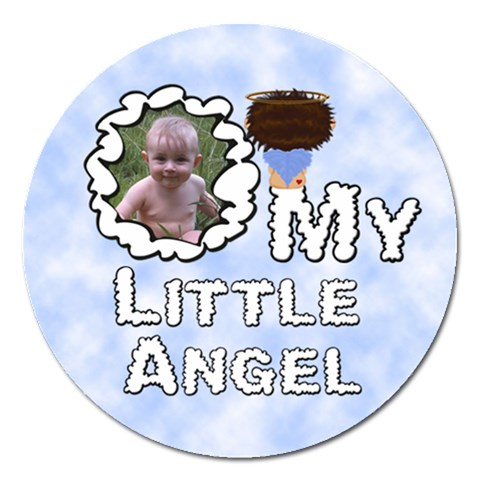 My Little Angel Boy Round 5 Inch Magnet By Chere s Creations   Magnet 5  (round)   Kfhq9ihj0gtq   Www Artscow Com Front