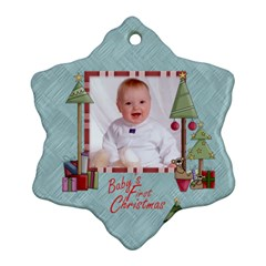 Baby s First Christmas Double Sided Snowflake Ornament By Catvinnat   Snowflake Ornament (two Sides)   Tu861il6arc8   Www Artscow Com Front