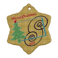 Merry Christmas By Daniela   Snowflake Ornament (two Sides)   Pzkx3yy4qh06   Www Artscow Com Back